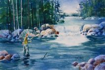 Fishing in Yellowstone Original Painting